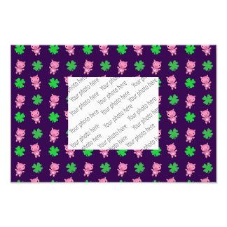 Cute purple pig shamrocks pattern photo