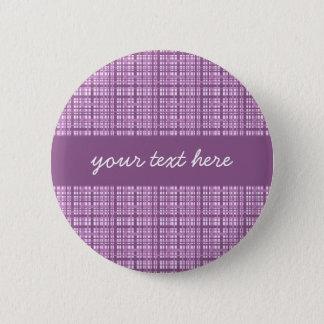 Cute purple plaid 6 cm round badge