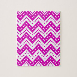 Cute Purple Polkadot Zigzags Jigsaw Puzzle