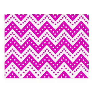 Cute Purple Polkadot Zigzags Postcard