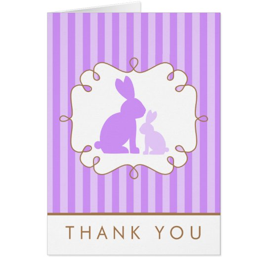 Cute Purple Rabbits Baby Shower Thank You Card