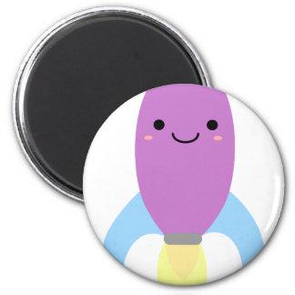 Cute Purple Rocket Ship Magnet
