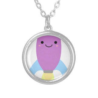 Cute Purple Rocket Ship Silver Plated Necklace
