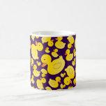 Cute purple rubber ducks basic white mug