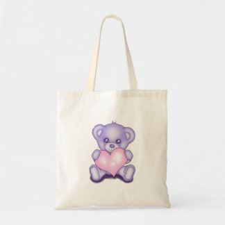 Cute Purple Teddy Bear Tote Bag