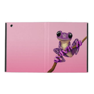 Cute Purple Tree Frog on a Branch on Pink iPad Case