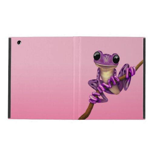 Cute Purple Tree Frog on a Branch on Pink iPad Folio Case
