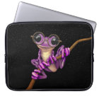 Cute Purple Tree Frog with Eye Glasses with Stars Laptop Sleeve