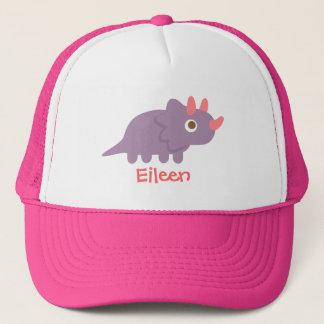 Cute purple triceratops dinosaur for cap