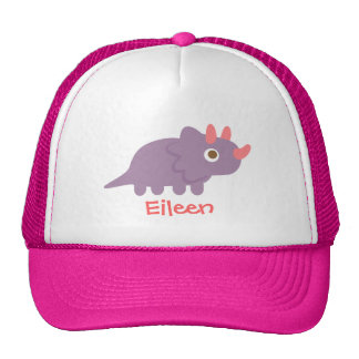 Cute purple triceratops dinosaur for cap