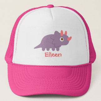 Cute purple triceratops dinosaur for trucker hat