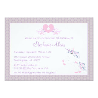 Cute purple unicorn pony birthday party invitation