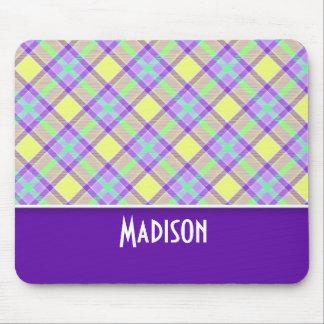 Cute Purple & Yellow Plaid Mouse Pad