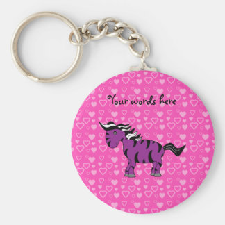 Cute purple zebra pink hearts key ring
