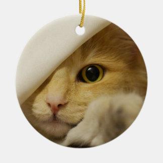 Cute Pussy Cat Round Ceramic Decoration