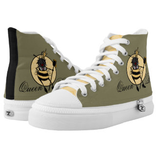 CUTE QUEEN BEE WITH HONEYCOMB HIGH TOP SHOES PRINTED SHOES
