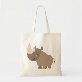 Cute Quiet Cartoon Rhino Tote Bag
