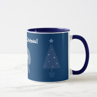 Cute & Quirky Blue Jellyfish & Christmas Trees Mug