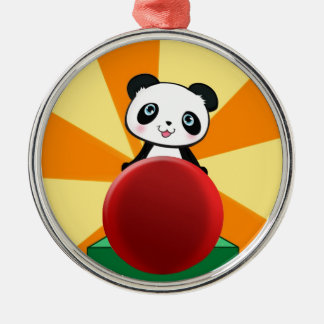 Cute Quirky Panda Bear Gift Present for Fans Girl Silver-Colored Round Decoration
