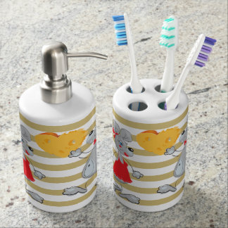 Cute Quirky Whimsical  Mouses-Stripes Bathroom Set
