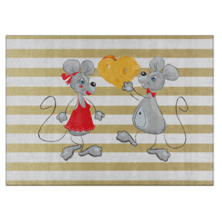 Cute Quirky Whimsical  Mouses-Stripes Cutting Board