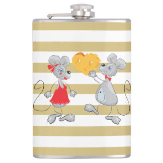 Cute Quirky Whimsical  Mouses-Stripes Hip Flask