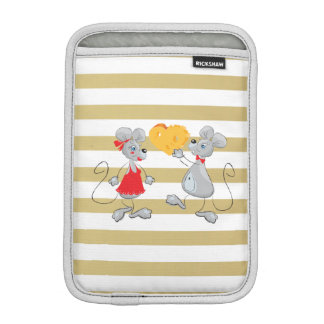 Cute Quirky Whimsical  Mouses-Stripes iPad Mini Sleeve