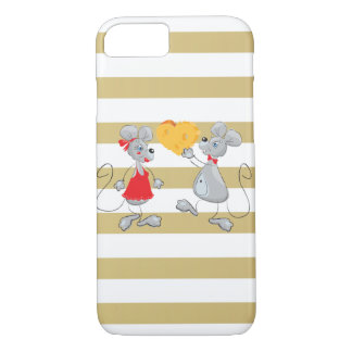 Cute Quirky Whimsical  Mouses-Stripes iPhone 8/7 Case