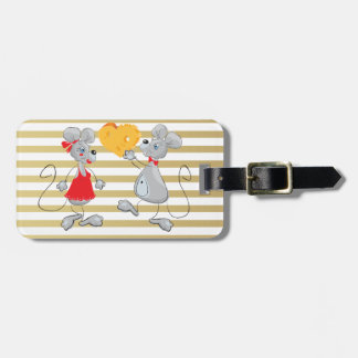 Cute Quirky Whimsical  Mouses-Stripes Luggage Tag