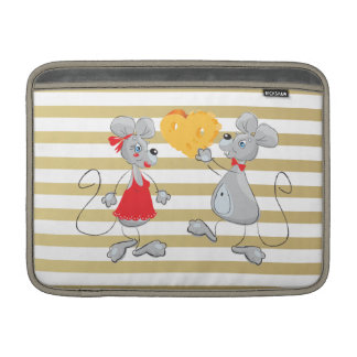 Cute Quirky Whimsical  Mouses-Stripes Sleeve For MacBook Air