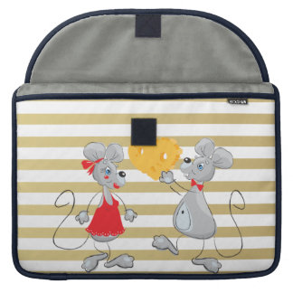 Cute Quirky Whimsical  Mouses-Stripes Sleeve For MacBook Pro