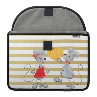 Cute Quirky Whimsical  Mouses-Stripes Sleeve For MacBooks