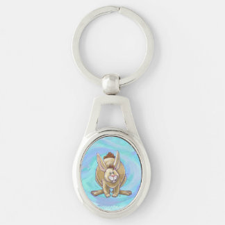 Cute Rabbit Animal Parade Silver-Colored Oval Key Ring