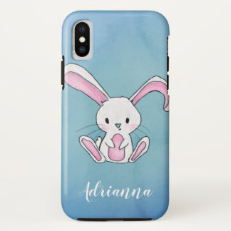 Cute Rabbit Drawing Blue Watercolor Name iPhone X Case