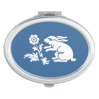 Cute Rabbit Lover's Blue and White Bunny Mirrors For Makeup