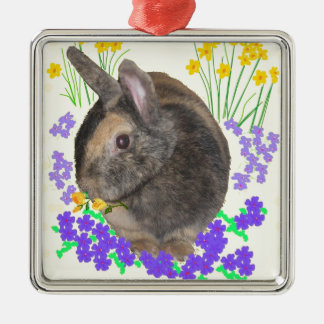 Cute Rabbit Photo and flowers Silver-Colored Square Decoration