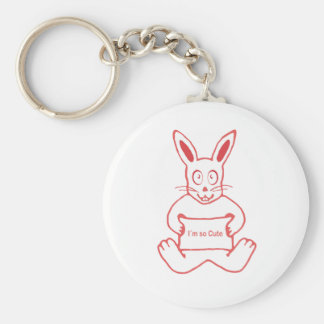 Cute Rabbit with I m So Cute Text Banner Basic Round Button Key Ring