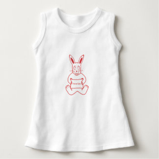 Cute Rabbit with I m So Cute Text Banner Drawing Dress