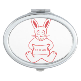 Cute Rabbit with I m So Cute Text Banner Makeup Mirror