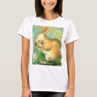 Cute  rabbit  Women's Basic T-Shirt, White T-Shirt
