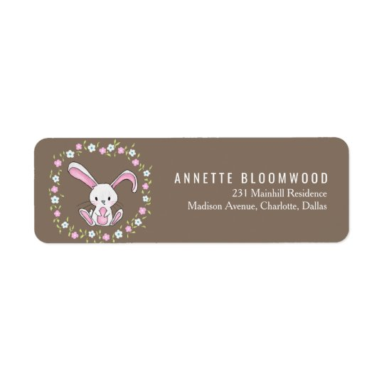 Cute Rabbit Woodland Pink Floral Baby Shower Return Address Label