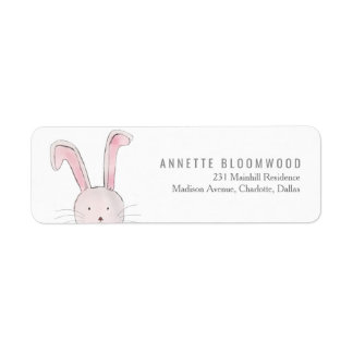Cute Rabbit Woodland Pink Girl Baby Shower Return Address Label