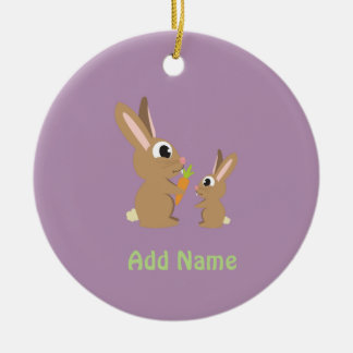 Cute Rabbits Double-Sided Ceramic Round Christmas Ornament
