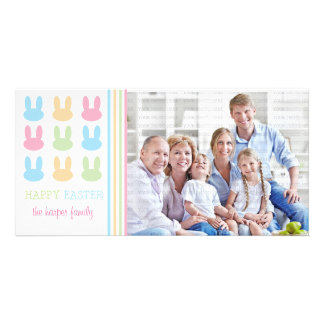 Cute Rabbits Happy Easter Personalized Photo Card