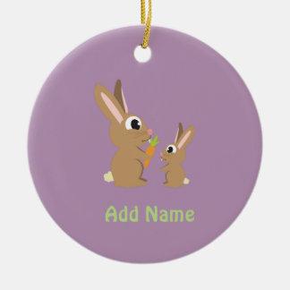 Cute Rabbits Round Ceramic Decoration