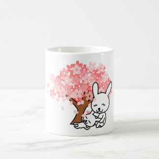 Cute Rabbits Under Cherry Blossom Tree Coffee Mug