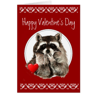 Cute Raccoon Blowing Kisses for your Valentine Card