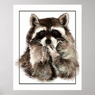 Cute Raccoon Blowing Kisses Fun art Poster