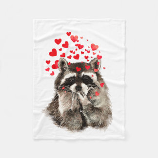 Cute Raccoon Blowing Kisses Love Hearts Animal Fleece Blanket