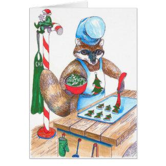 Cute Raccoon Chef Alaska Wildlife Christmas Card